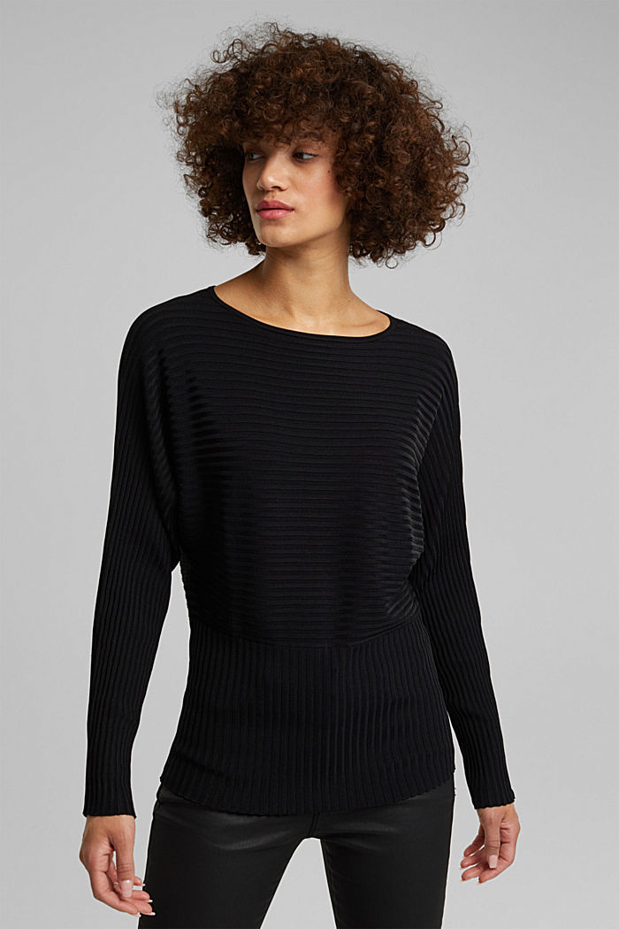 Shiny raglan jumper with texture, BLACK, detail image number 0