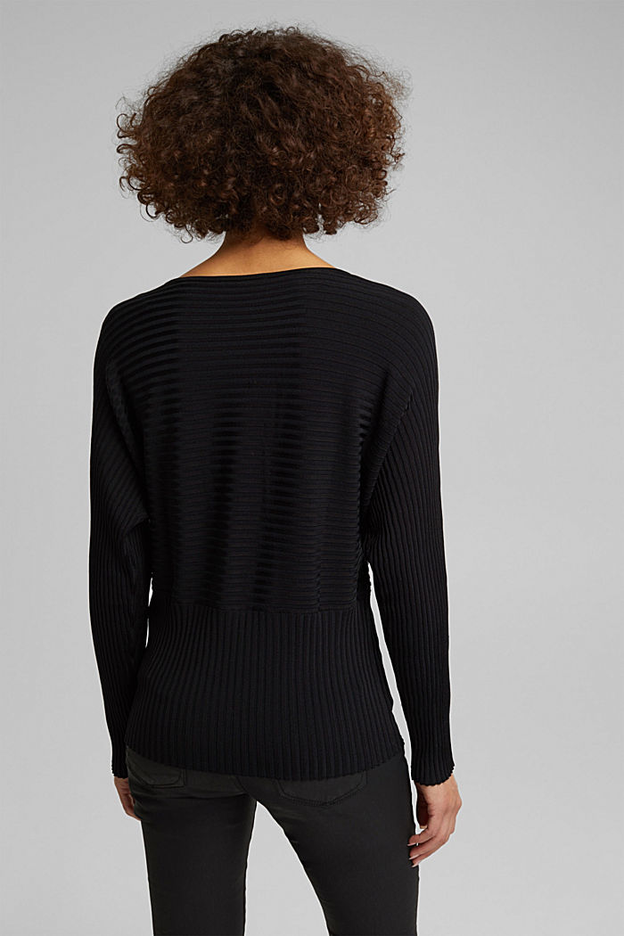 Shiny raglan jumper with texture, BLACK, detail image number 3
