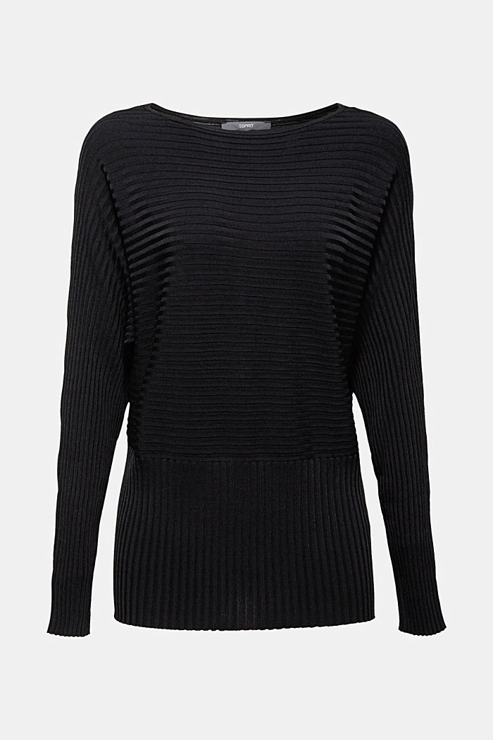 Shiny raglan jumper with texture, BLACK, detail image number 6