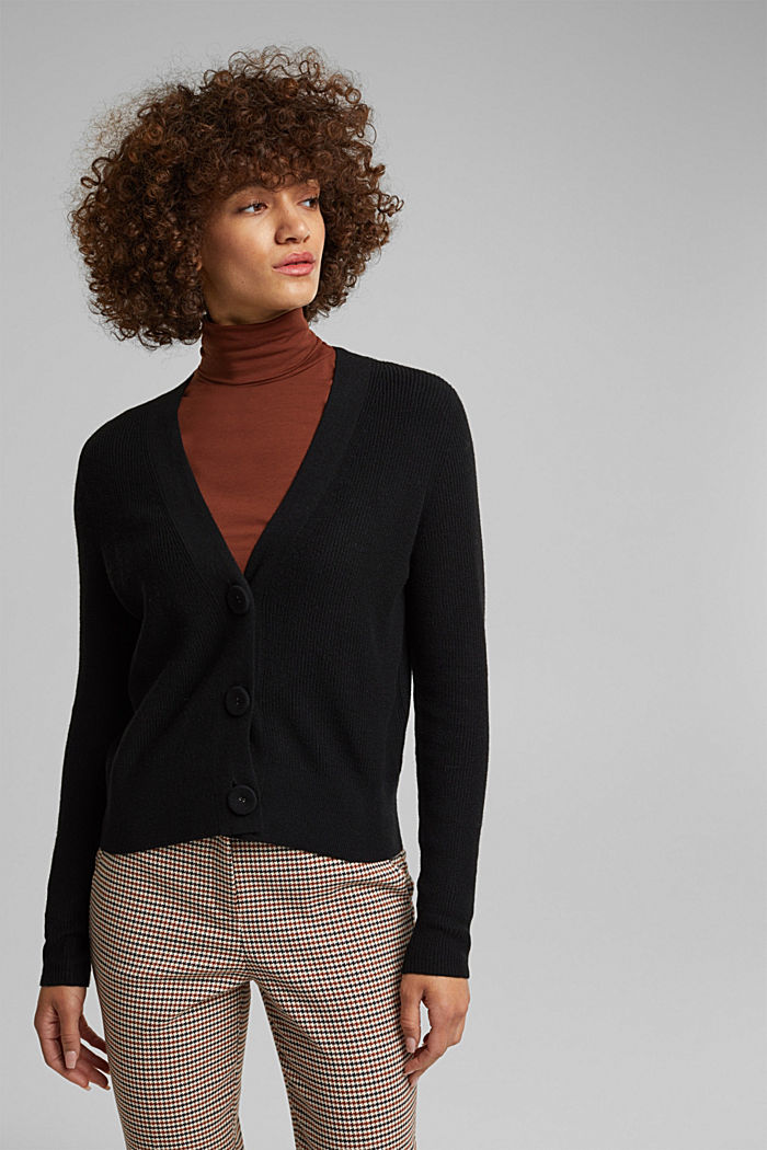 With cashmere: cardigan with large buttons, BLACK, detail image number 0