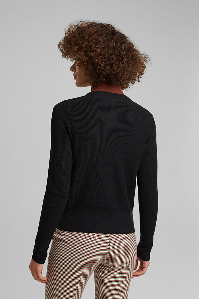 With cashmere: cardigan with large buttons, BLACK, detail image number 3