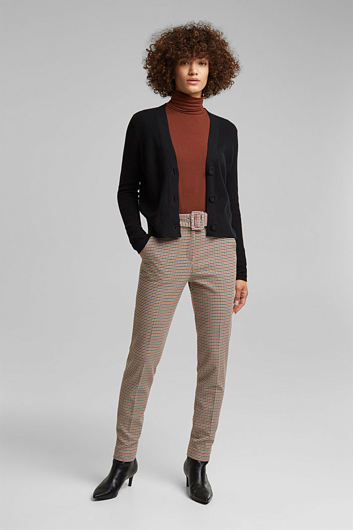 With cashmere: cardigan with large buttons, BLACK, detail image number 1