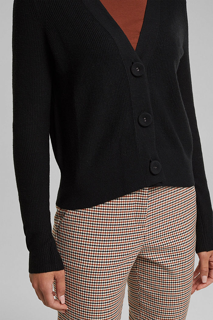 With cashmere: cardigan with large buttons, BLACK, detail image number 2