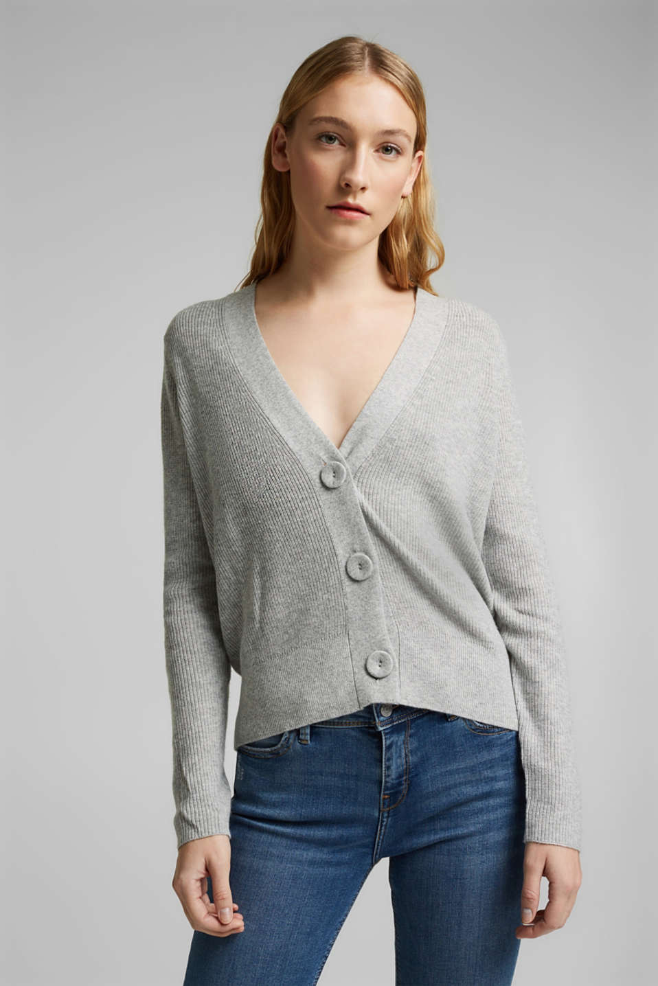 Esprit - With cashmere: cardigan with large buttons