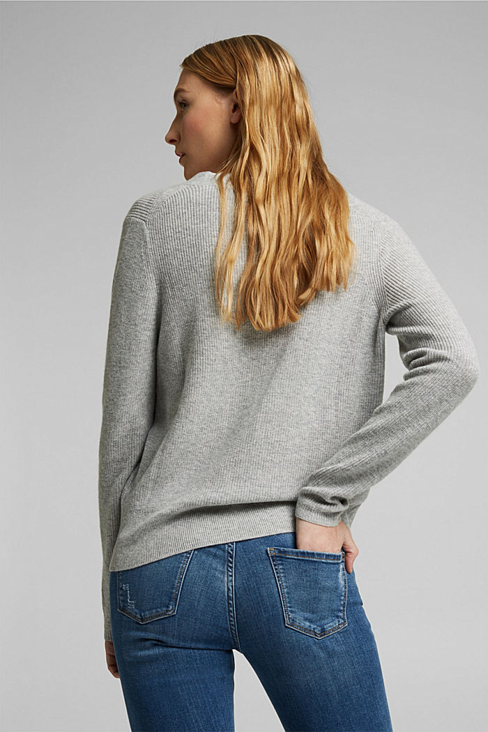 With cashmere: cardigan with large buttons, LIGHT GREY, detail image number 3