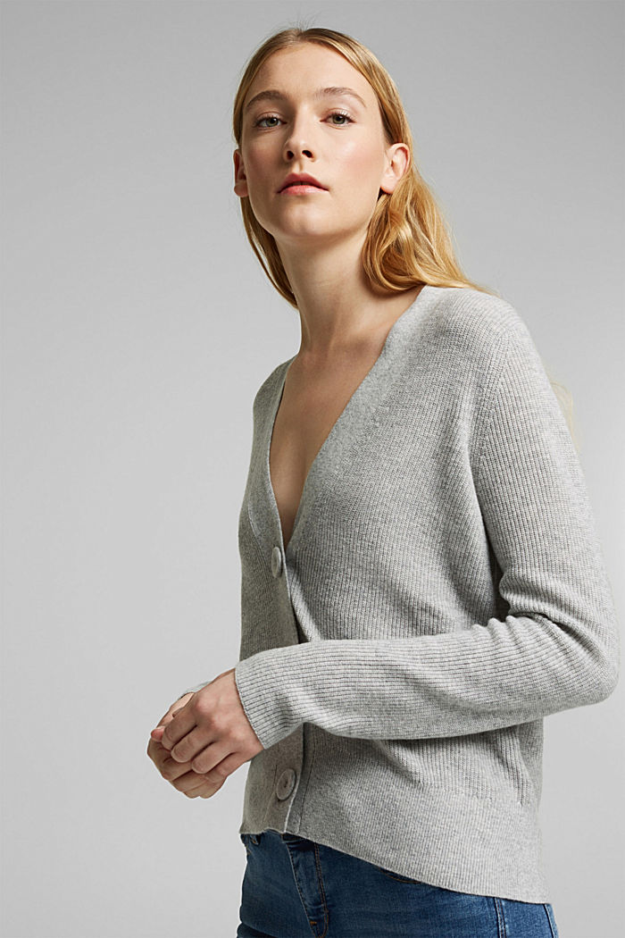 With cashmere: cardigan with large buttons, LIGHT GREY, detail image number 5