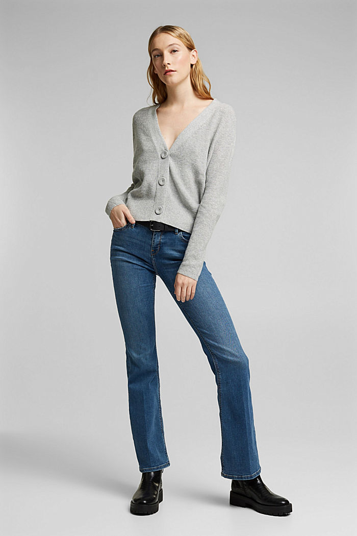 With cashmere: cardigan with large buttons, LIGHT GREY, detail image number 1
