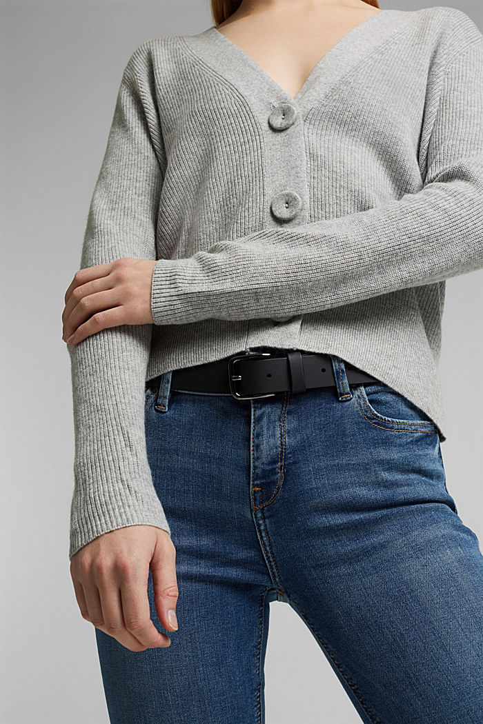 With cashmere: cardigan with large buttons, LIGHT GREY, detail image number 2