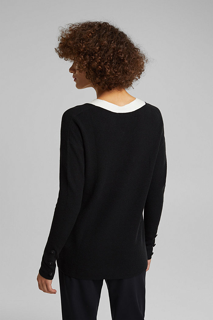 With cashmere: jumper with button details, BLACK, detail image number 3