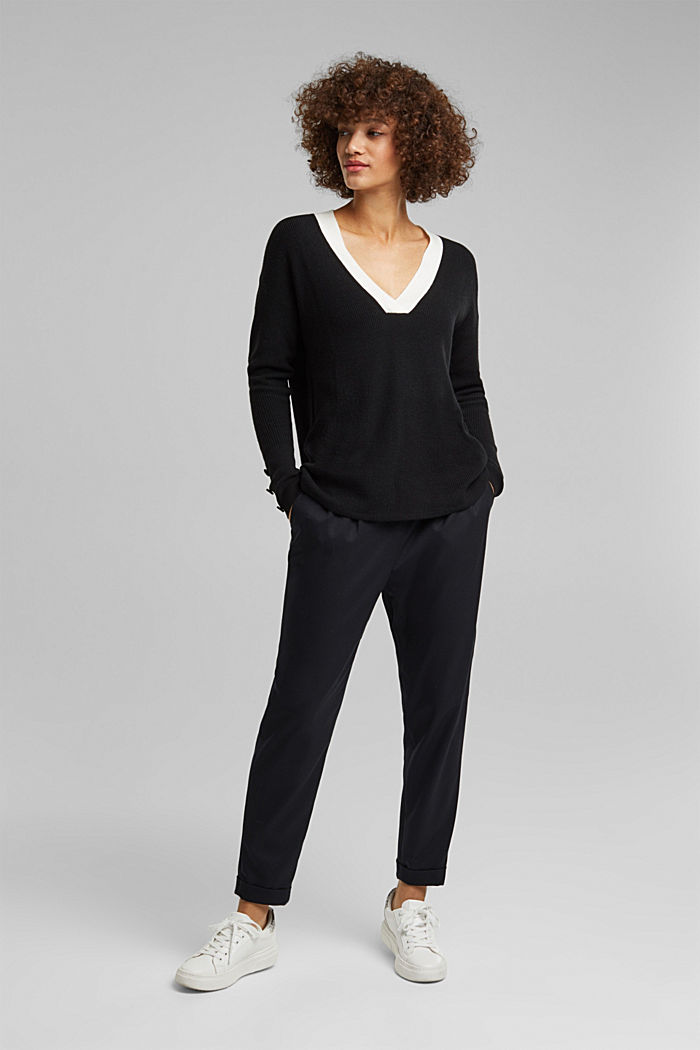 With cashmere: jumper with button details, BLACK, detail image number 5