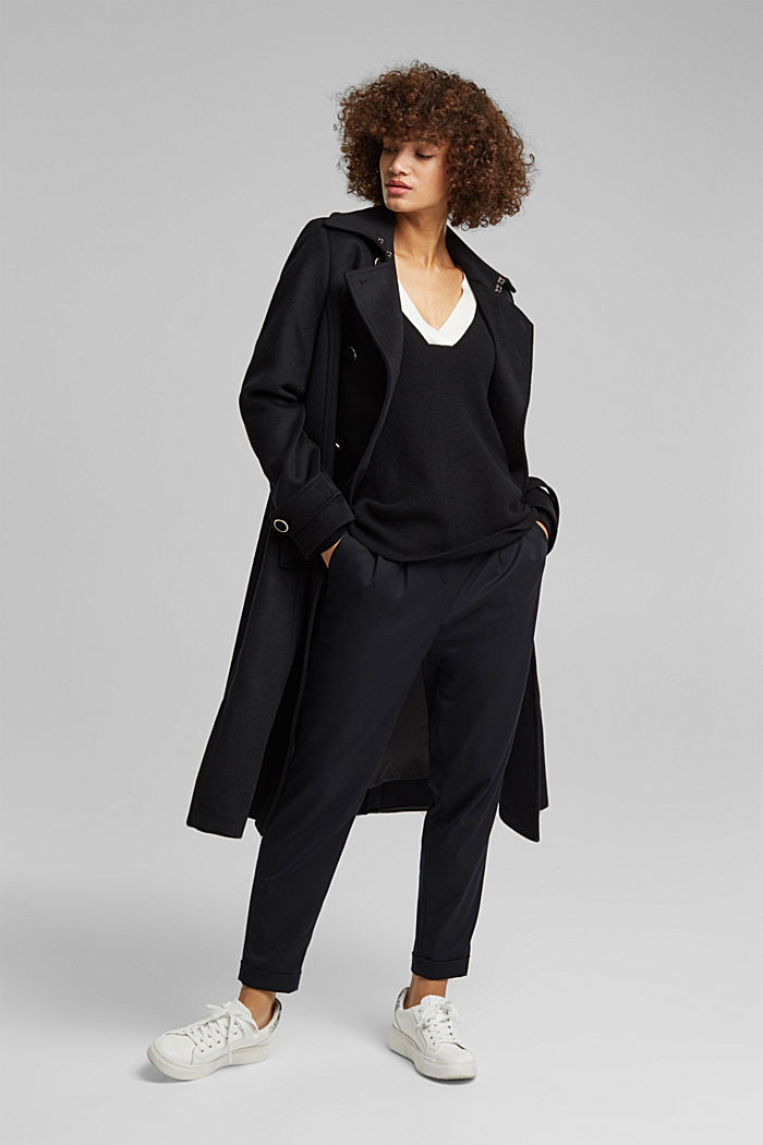 With cashmere: jumper with button details, BLACK, detail image number 1