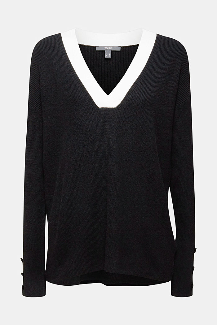With cashmere: jumper with button details, BLACK, detail image number 6