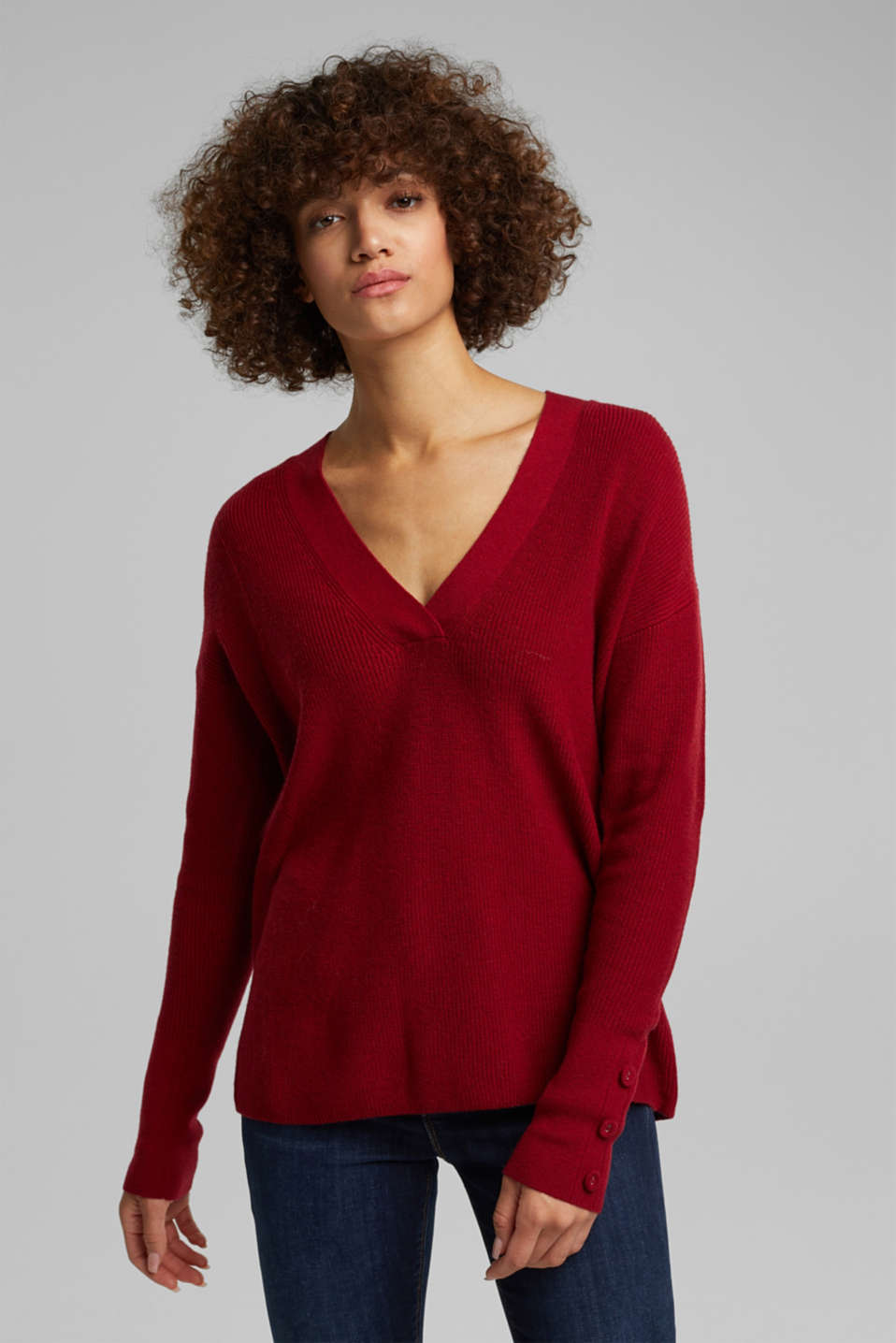 Esprit - With cashmere: jumper with button details