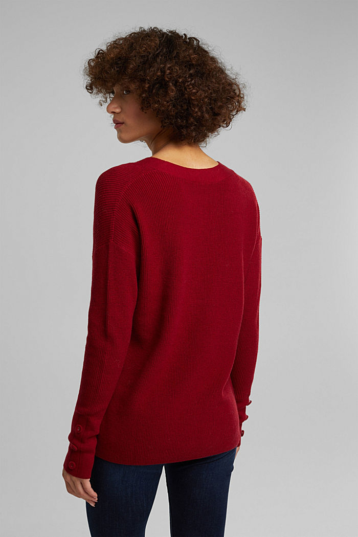 With cashmere: jumper with button details, DARK RED, detail image number 3