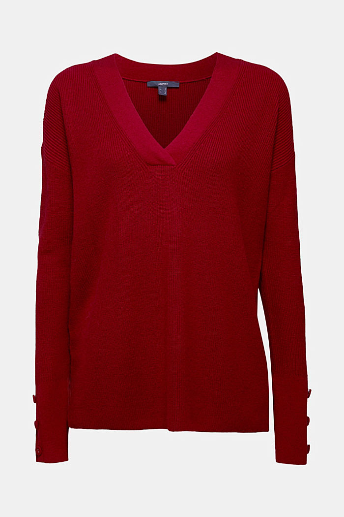With cashmere: jumper with button details, DARK RED, detail image number 6