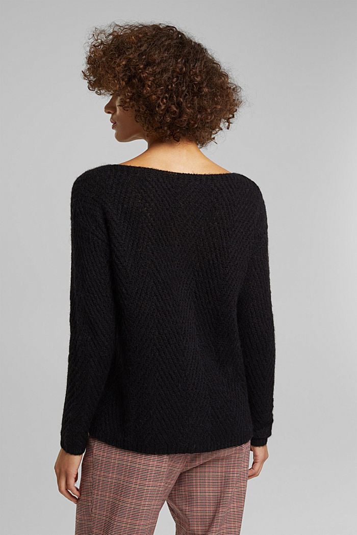 Made of blended wool: textured jumper, BLACK, detail image number 3