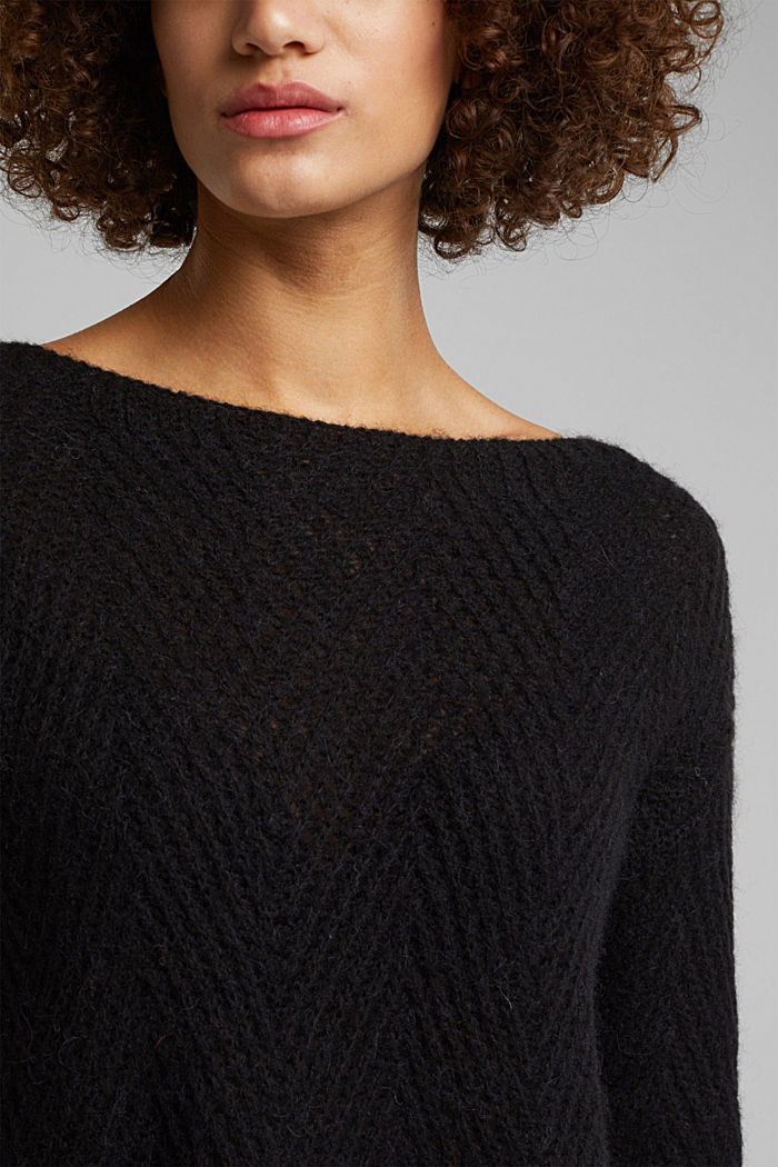 Made of blended wool: textured jumper, BLACK, detail image number 2