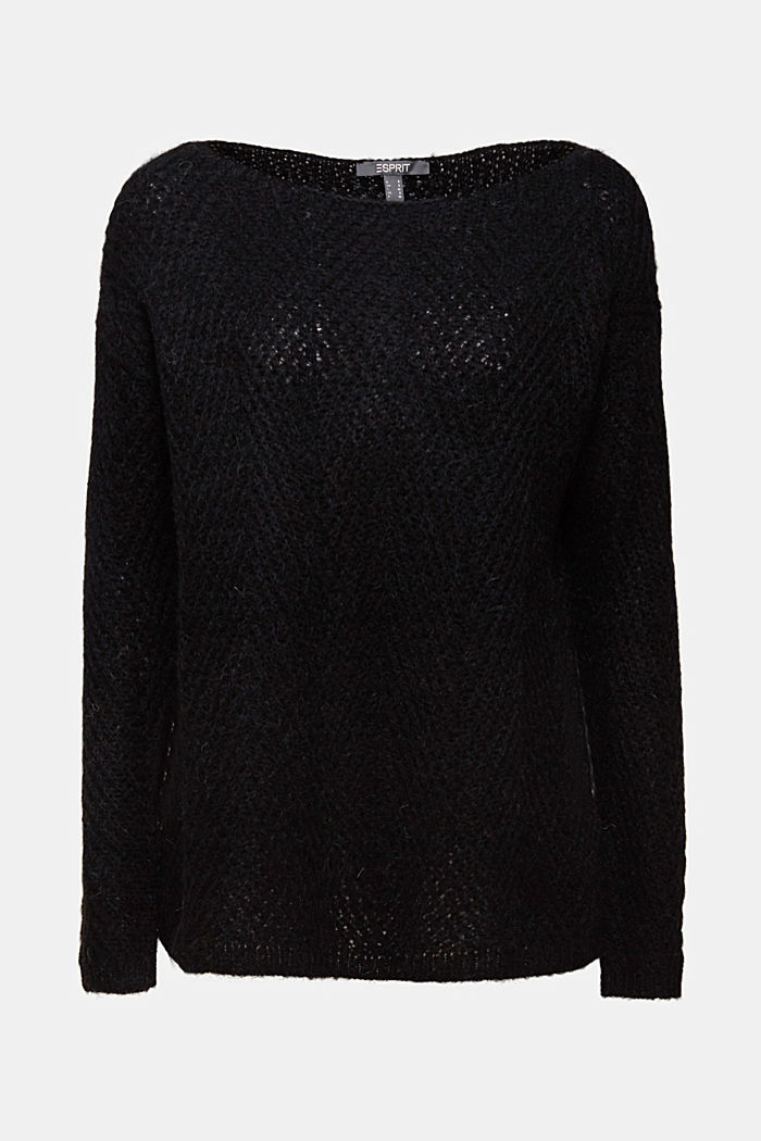 Made of blended wool: textured jumper, BLACK, detail image number 5