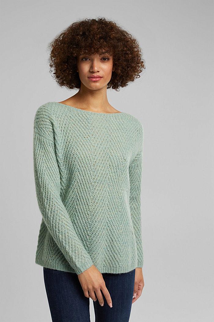 Made of blended wool: textured jumper, PASTEL GREEN, detail image number 0