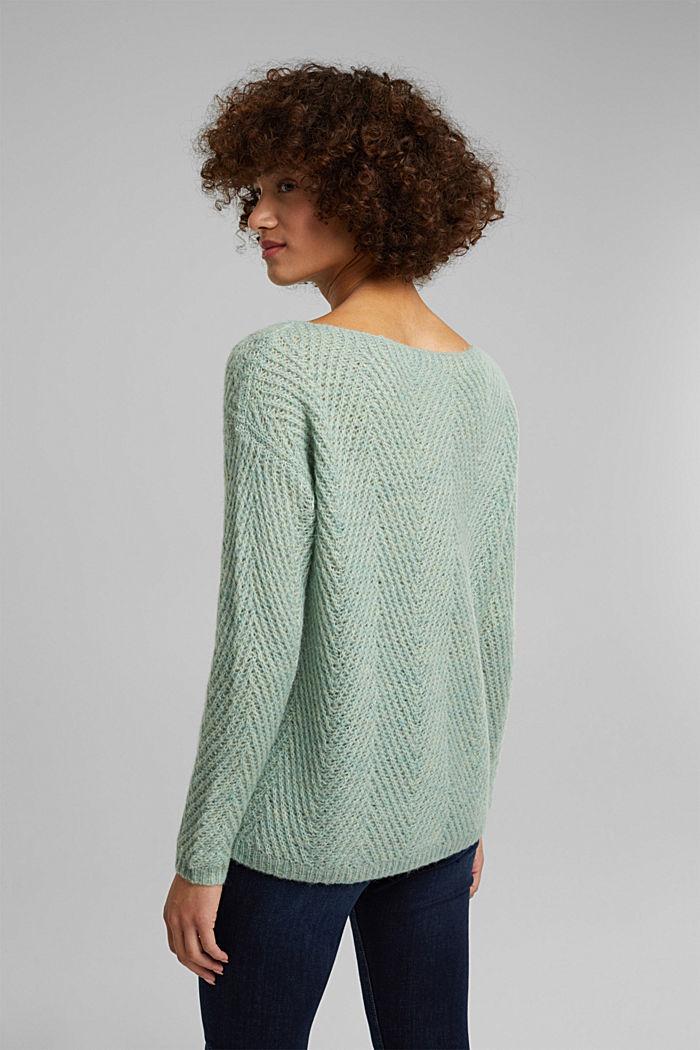 Made of blended wool: textured jumper, PASTEL GREEN, detail image number 3