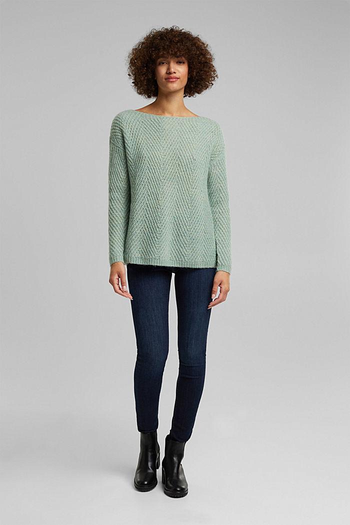 Made of blended wool: textured jumper, PASTEL GREEN, detail image number 5