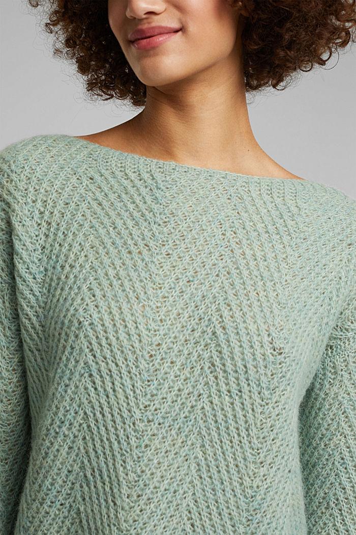Made of blended wool: textured jumper, PASTEL GREEN, detail image number 2