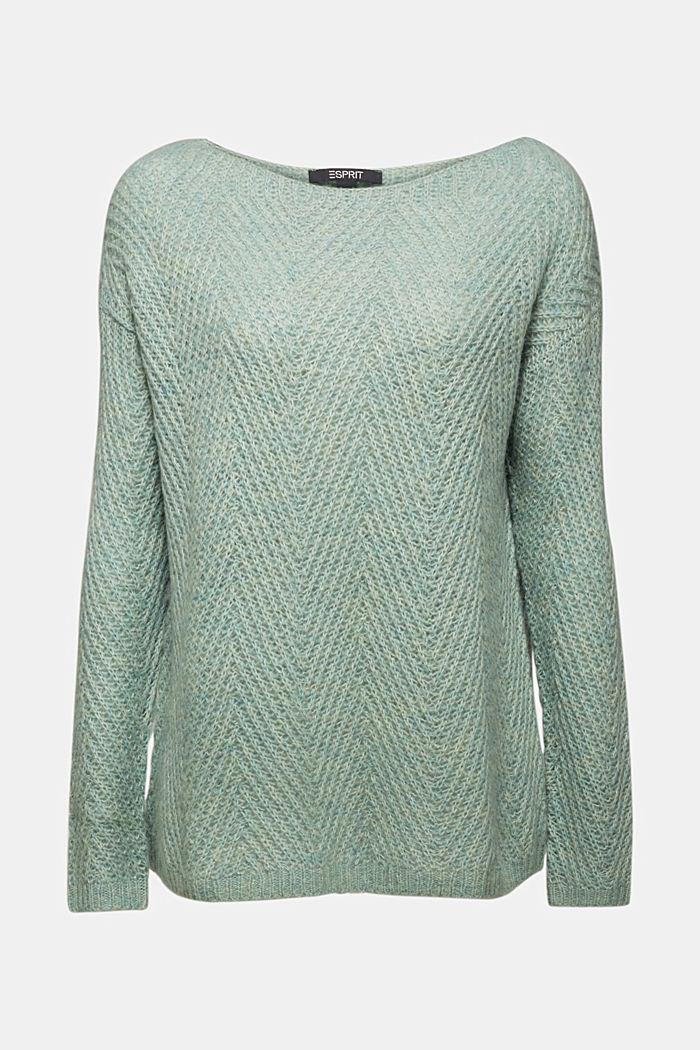 Made of blended wool: textured jumper, PASTEL GREEN, detail image number 6