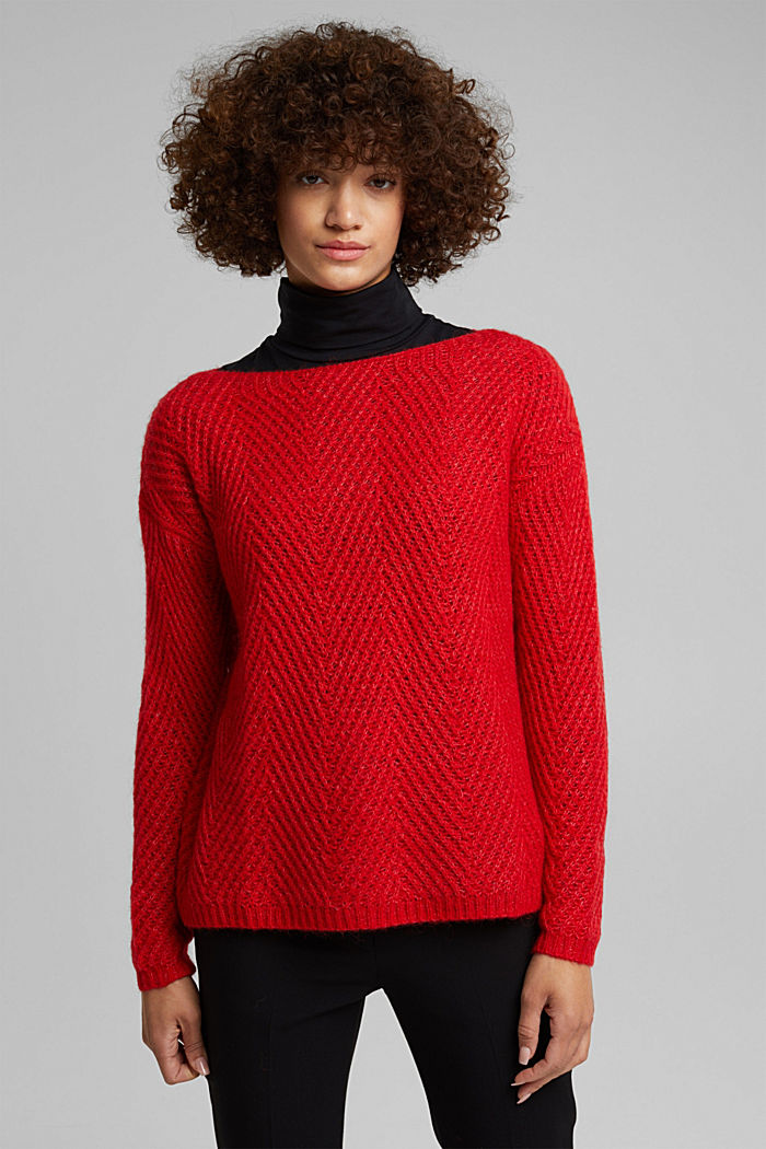 Made of blended wool: textured jumper