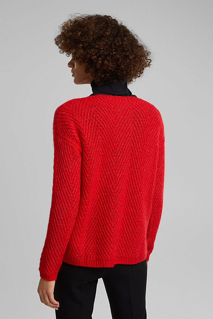 Made of blended wool: textured jumper, RED, detail image number 3