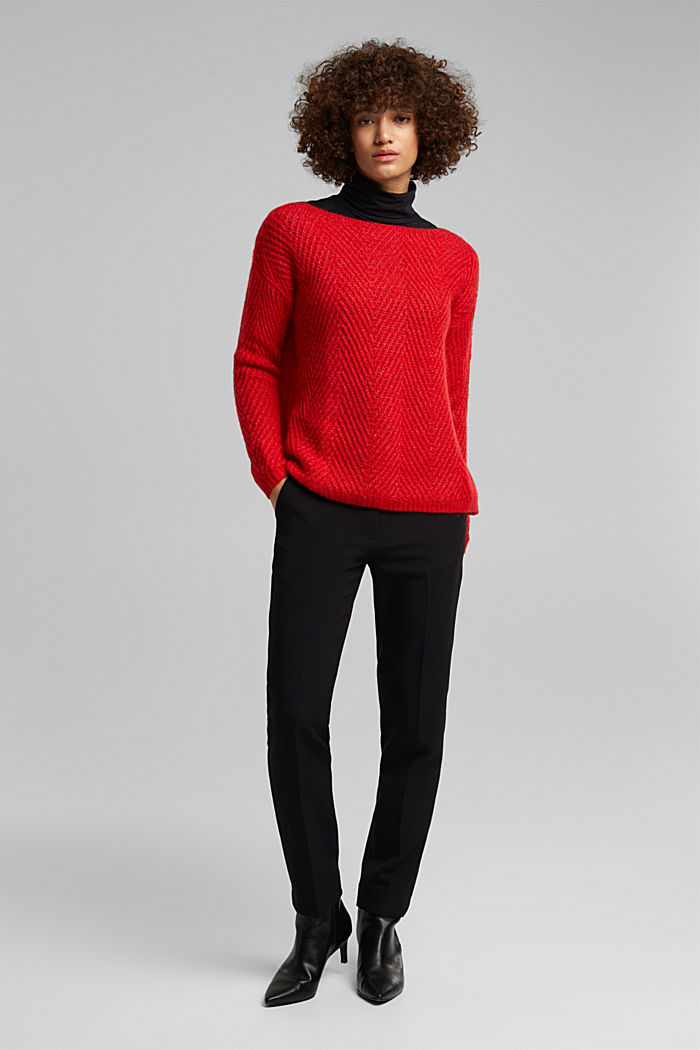 Made of blended wool: textured jumper, RED, detail image number 5