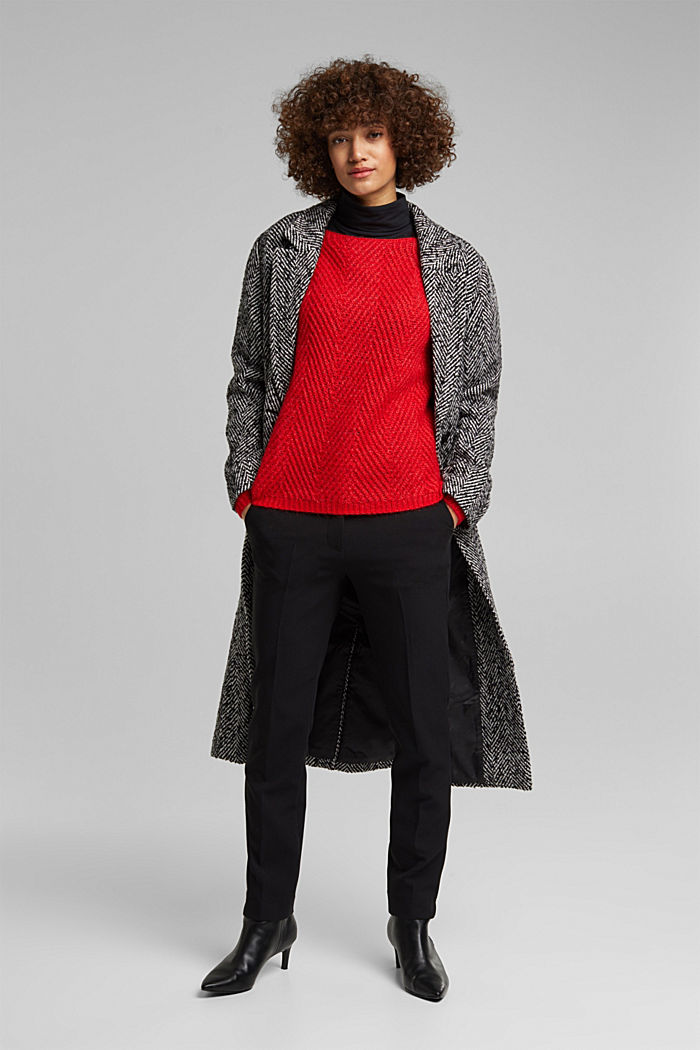 Made of blended wool: textured jumper, RED, detail image number 1