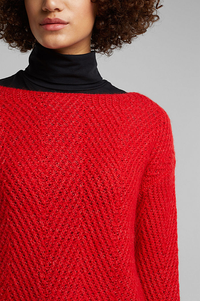 Made of blended wool: textured jumper, RED, detail image number 2