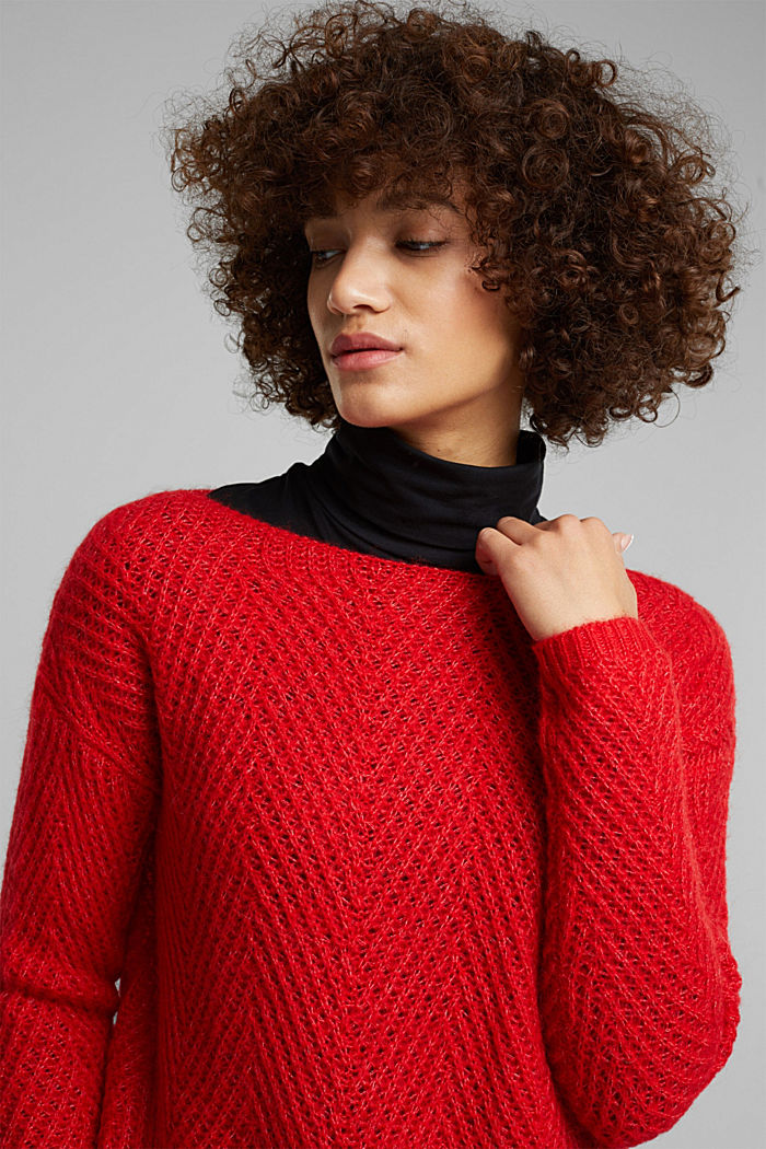 Made of blended wool: textured jumper, RED, detail image number 6