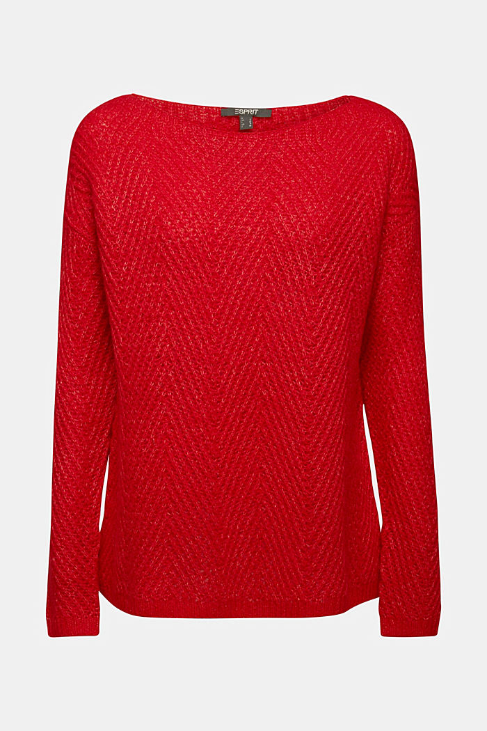 Made of blended wool: textured jumper, RED, detail image number 7