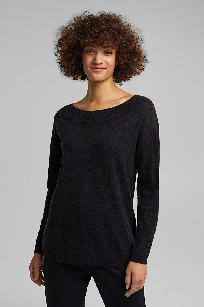 Jumper in an alpaca/wool blend, BLACK, detail image number 0