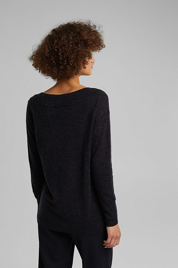 Jumper in an alpaca/wool blend, BLACK, detail image number 3