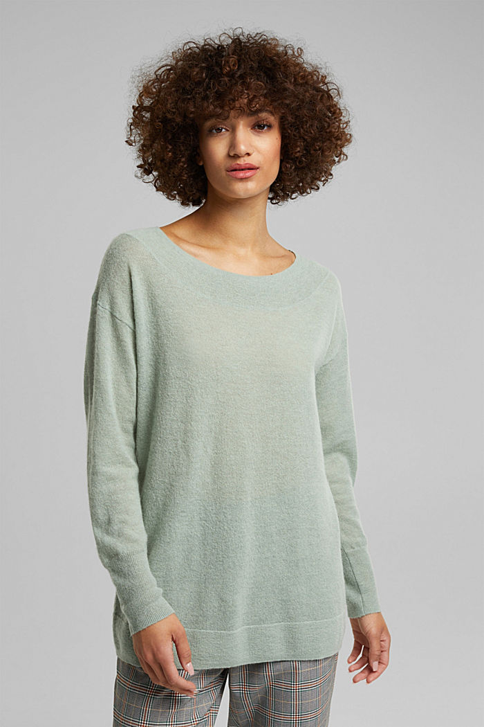 Jumper in an alpaca/wool blend, PASTEL GREEN, detail image number 0