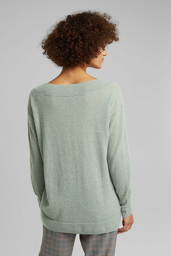 Jumper in an alpaca/wool blend, PASTEL GREEN, detail image number 3