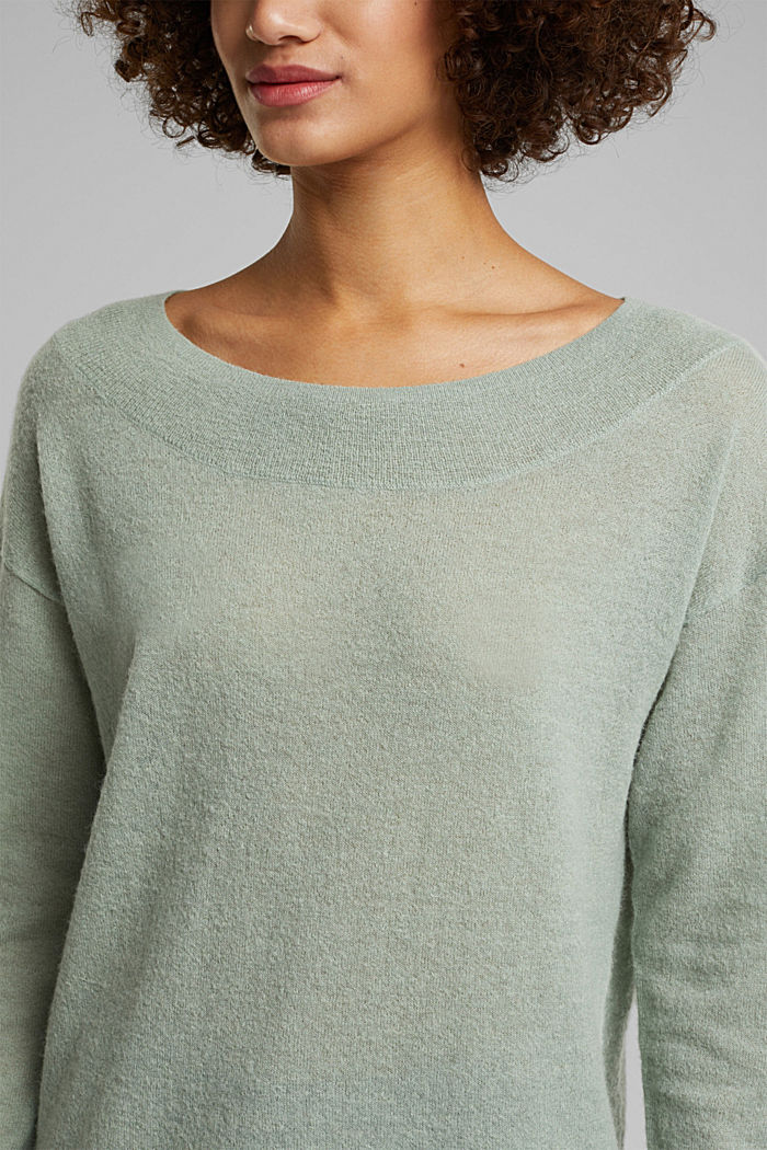 Jumper in an alpaca/wool blend, PASTEL GREEN, detail image number 2