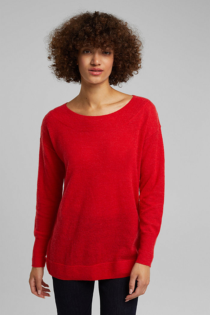 Jumper in an alpaca/wool blend, RED, overview