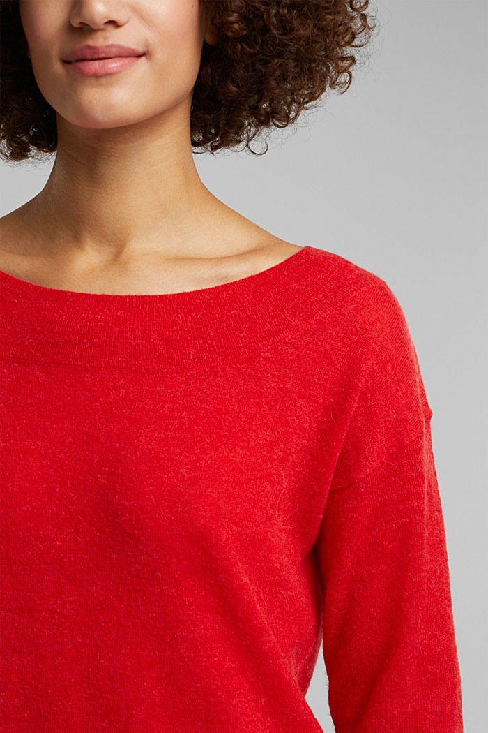 Jumper in an alpaca/wool blend, RED, detail image number 2