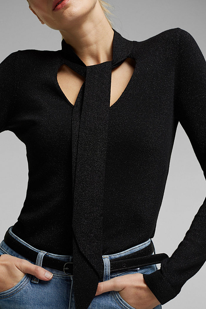 V-neck jumper with LENZING™ ECOVERO™, BLACK, detail image number 2