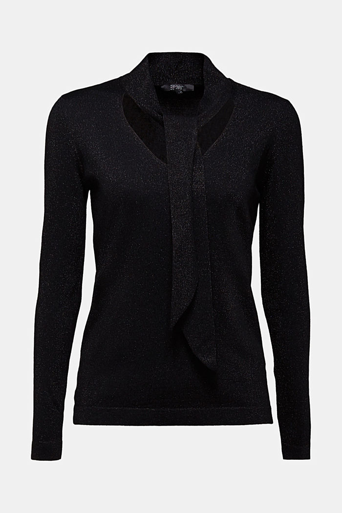 V-neck jumper with LENZING™ ECOVERO™, BLACK, detail image number 4