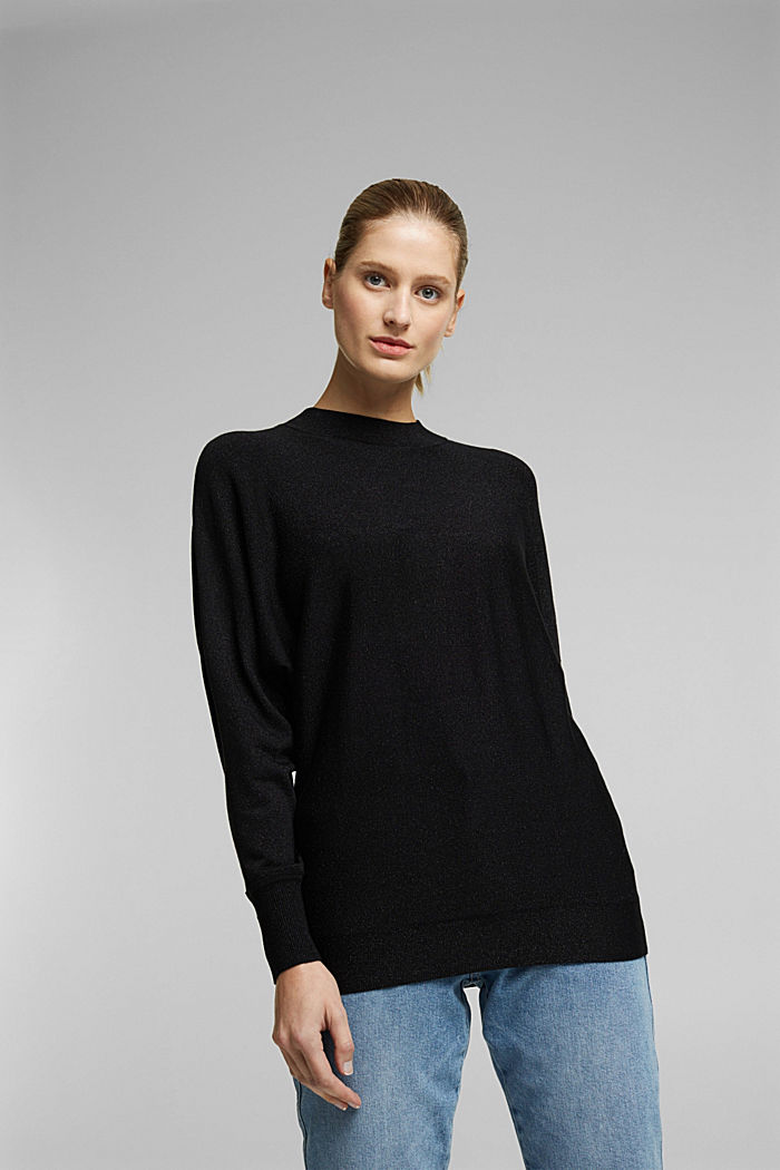 Glittering jumper featuring LENZING™ ECOVERO™, BLACK, detail image number 0