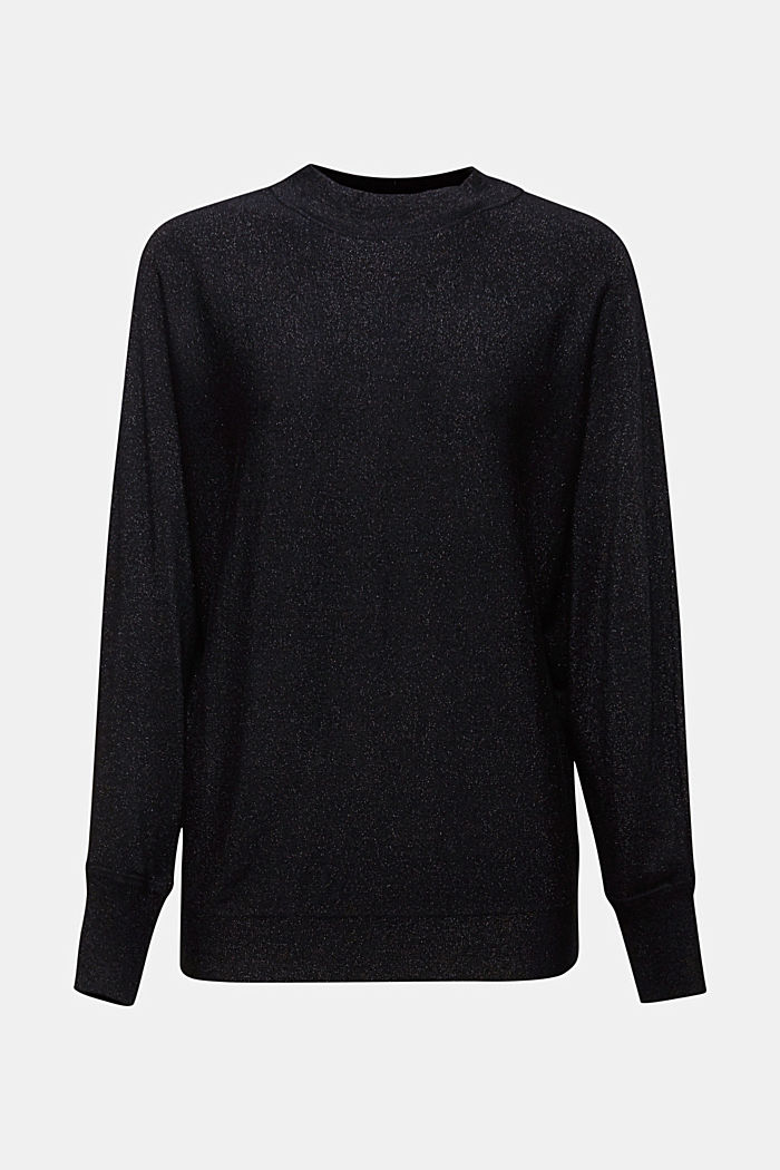 Glittering jumper featuring LENZING™ ECOVERO™, BLACK, detail image number 5