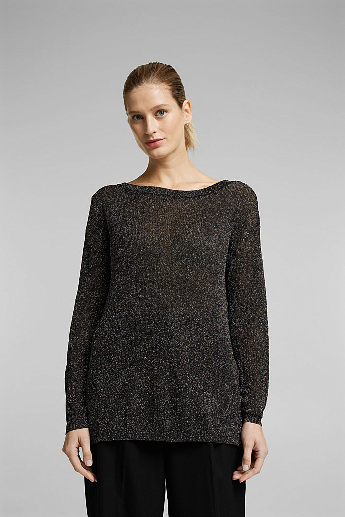 Glittering jumper, BLACK, detail image number 0
