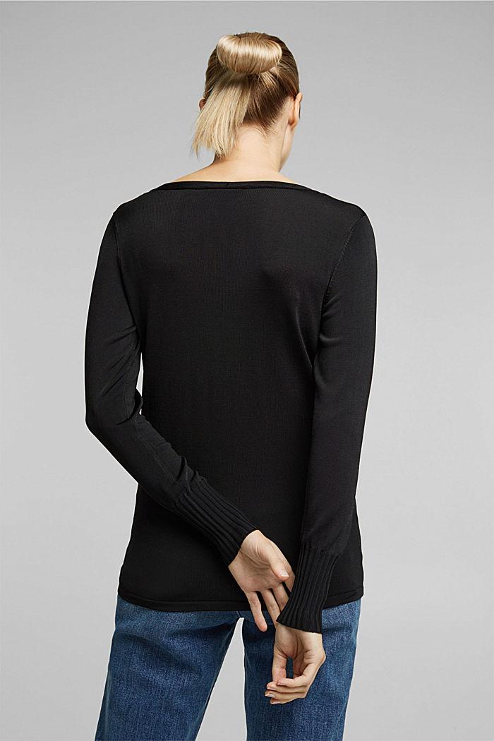 V-neck jumper with matte sheen, BLACK, detail image number 3
