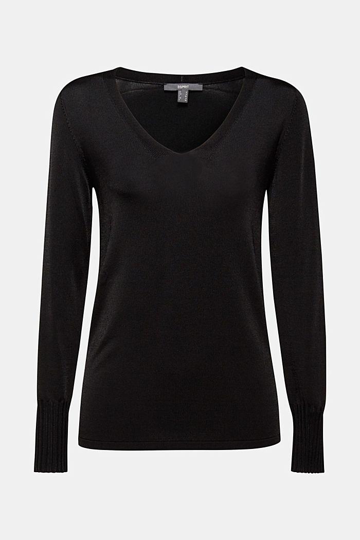 V-neck jumper with matte sheen, BLACK, detail image number 6