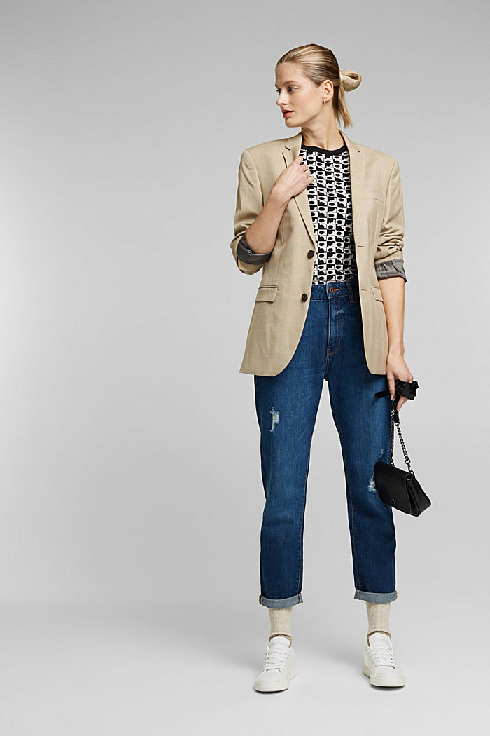 Short sleeve jumper with LENZING™ ECOVERO™, BLACK, detail image number 1