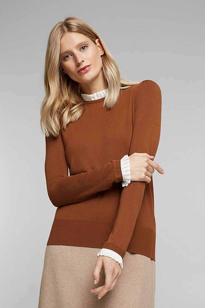 Jumper with a frilled blouse insert, TOFFEE, detail image number 0